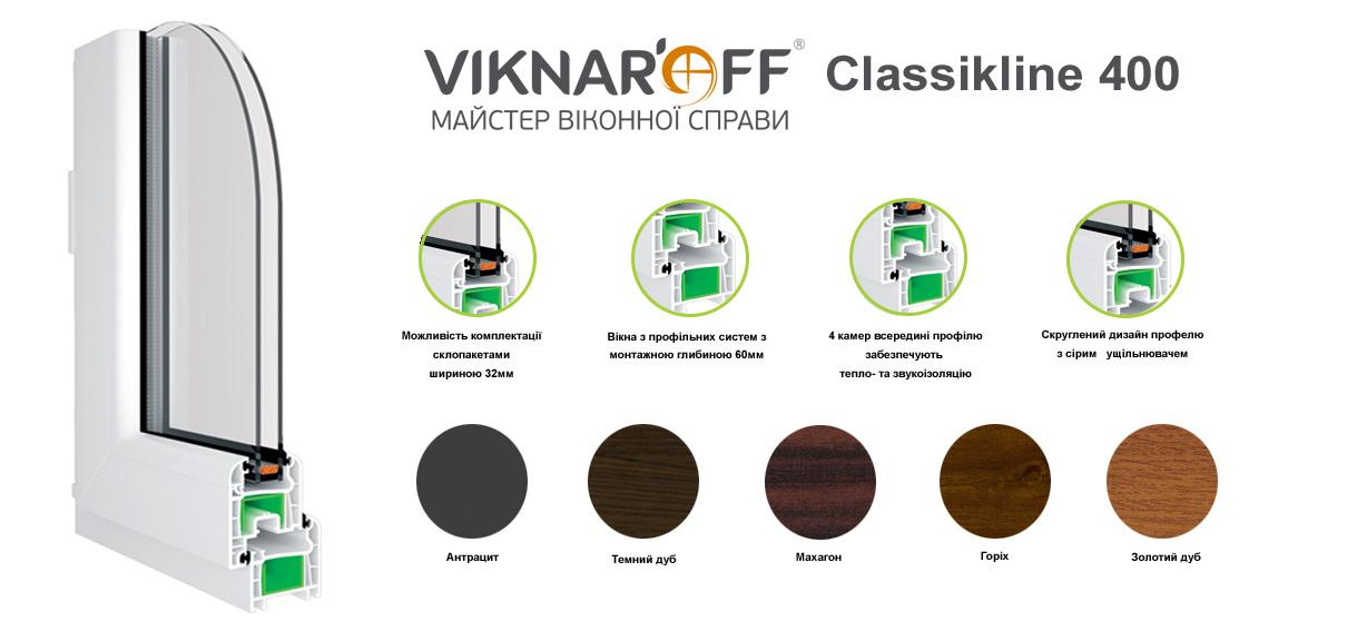 Металопластикові вікна Viknaroff Classikline 400