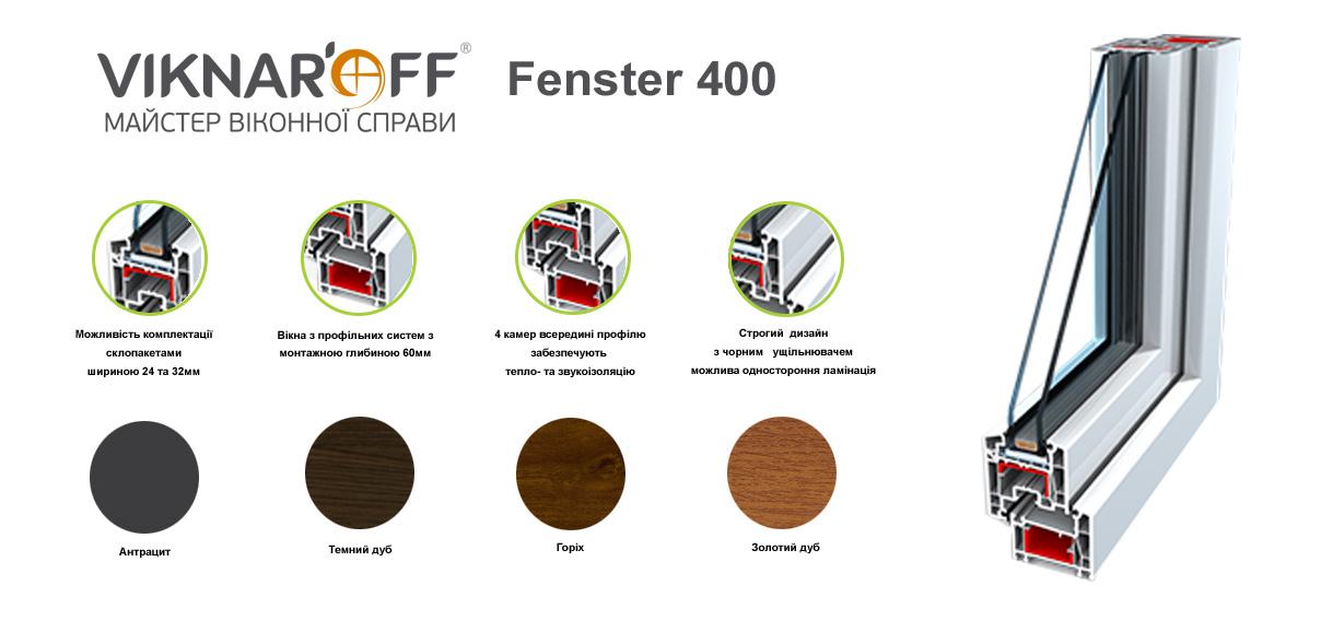 Металопластикові вікна viknaroff Fenster 400